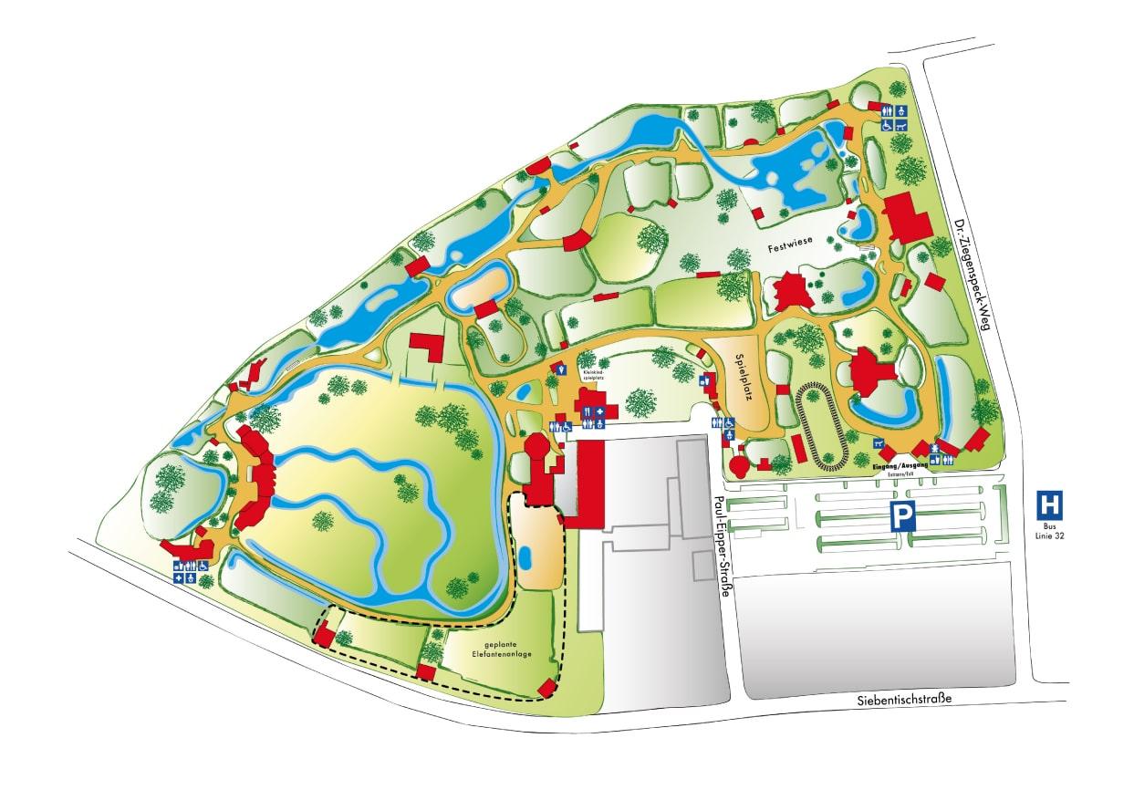 plattegrond Zoo Augsburg