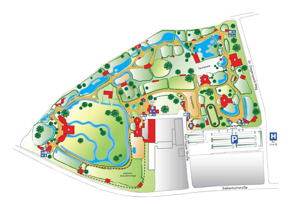 Karte Augsburg.Zooplan Zoo Augsburg